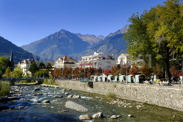 Italy, South Tyrol, Meran, Spa Hotels, Passer river - LBF01800