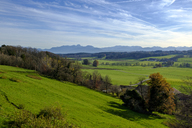 Germany, Bavaria, Upper Bavaria, View from Jakobsbaiern, Glonn Valley, Baiern, Antholing, Alps in the background - LBF01806