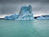 Argentina, Patagonia, El Calafate, Puerto Bandera, Lago Argentino, Parque Nacional Los Glaciares, Estancia Cristina, broken iceberg - AMF05671