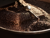 Roasted coffee beans in cooling cylinder - CVF00176