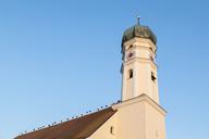 Germany, Bavaria, Markt Schwaben, white storks on church roof - FOF09900