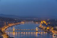 Hungary, Budapest, Buda and Pest, Danube river, Chain bridge, Elisabeth Bridge and Parliament building, blue hour - FOF09909