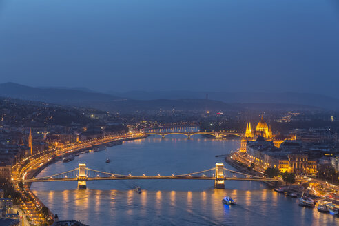 Hungary, Budapest, Buda and Pest, Danube river, Chain bridge, Elisabeth Bridge and Parliament building, blue hour - FOF09909