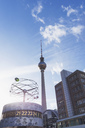 Germany, Berlin, Urania world clock and Berlin TV tower at Alexanderplatz - GW05461