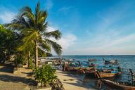 Thailand, Phi Phi Islands, Ko Phi Phi, moored long-tail boats at the beach - KKAF00872
