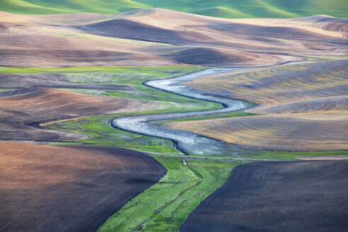 Aerial view of river winding through landscape - CAIF00410