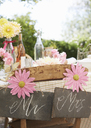 Table set for wedding reception outdoors - CAIF00762