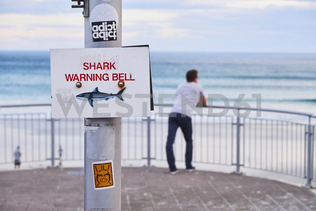 New Zealand, South Island, Dunedin, shark warning bell at St Clair Beach - MR01759
