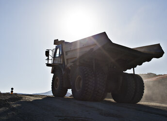 Silhouette of truck in quarry - CAIF01421