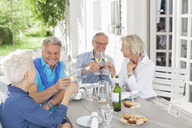 Friends toasting each other with wine outdoors - CAIF01460