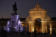 Portugal, Lisbon, Baixa, Praca do Comercio with equestrian statue of King Jose and Rua Augusta triumphal arch at night - MRF01831
