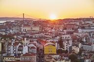 Portugal, Lisbon, View from Miradouro da Igreja da Graca, cityscape at sunset - MRF01849