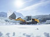 Austria, Tyrol, Hochfilzen, snow-plowing service, snow clearance with wheel loader - CVF00181