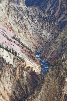 Aerial view of river in rocky canyon - CAIF02067