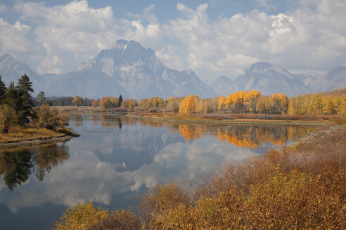 Mountains and sky reflected in still river - CAIF02070