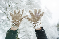 Close up of snowy gloves - CAIF02433