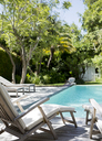 Lawn chairs and swimming pool in backyard - CAIF02624