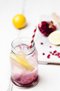 Fruit infused water with lemon slices, crushed pomegranate seeds and sparkling water - SBDF03473