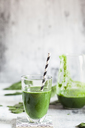 Sugar-free, vegane detox smoothie with spinach, almond milk and banana - SBDF03479