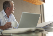 Businessman having cup of coffee at laptop - CAIF02948