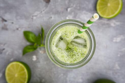 Glass of organic lime lemonade with basil - LVF06756