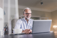 Portrait of smiling mature man sitting at table using laptop at home - UUF12923