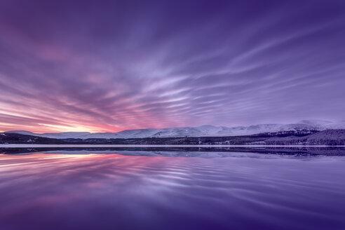 United Kingdom, Scotland, Highlands, Cairngorms National Park, Loch Morlich at sunrise - SMAF00951