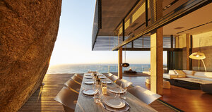 Modern luxury patio dining table with sunset ocean view - HOXF00482