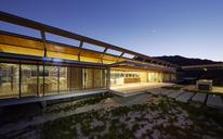 Illuminated modern luxury house at dusk - HOXF00494