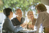 Couples toasting white wine glasses at sunny restaurant table - HOXF00542