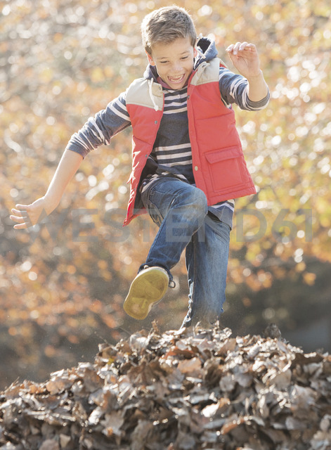 Enthusiastic boy jumping over pile of autumn leaves - HOXF00626 - Tom Merton/Westend61