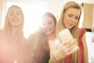 Teenage girls taking selfie with camera phone - HOXF00671