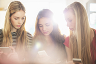 Teenage girls using cell phones - HOXF00704