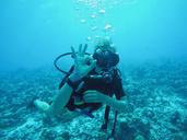 Portrait of scuba diver gesturing okay underwater - HOXF00803
