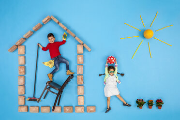 Brother and sister at home, cleaning house and playing in the garden - BAEF01539