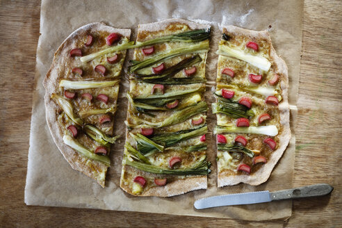 Vegan tarte flambee, spring onion and rhubarb - EVGF03298
