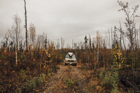 Canada, British Columbia, Van on forest track in autumn - GUSF00318