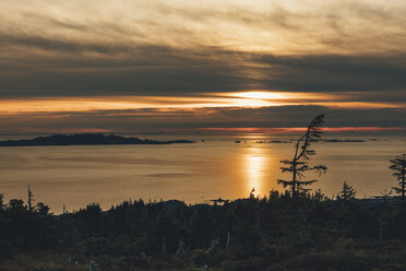 Canada, British Columbia, Kaien Island, Skeena-Queen Charlotte A, Mount Hays, Prince Rupert at sunset - GUSF00390