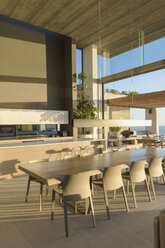 Sunny modern, luxury home showcase interior dining room - HOXF01258