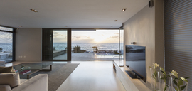 Modern luxury home showcase living room with ocean view - HOXF01351