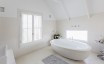 Modern luxury white round soaking bathtub in bathroom - HOXF01363