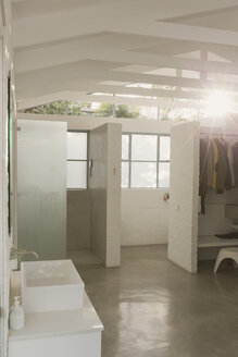 Sunny white modern home showcase interior bathroom and closet with vaulted ceilings - HOXF02047