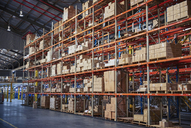 Cardboard boxes stacked on shelves in distribution warehouse - HOXF02845