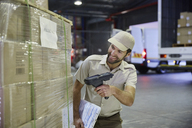 Truck driver worker scanning pallet of cardboard boxes at distribution warehouse loading dock - HOXF02902