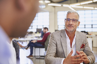 Businessmen talking in meeting - HOXF03043