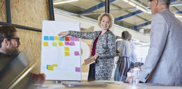 Businesswoman leading meeting at flipchart with adhesive notes - HOXF03085