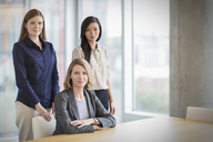 Portrait confident businesswomen in conference room - HOXF03253