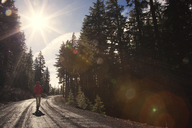 Woman jogging on road amidst trees during sunny day - CAVF00079