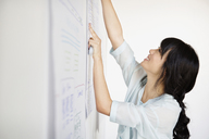Happy businesswoman sticking chart on wall in creative office - CAVF00349