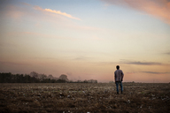 Rear view of man standing on field against sky at sunset - CAVF00793